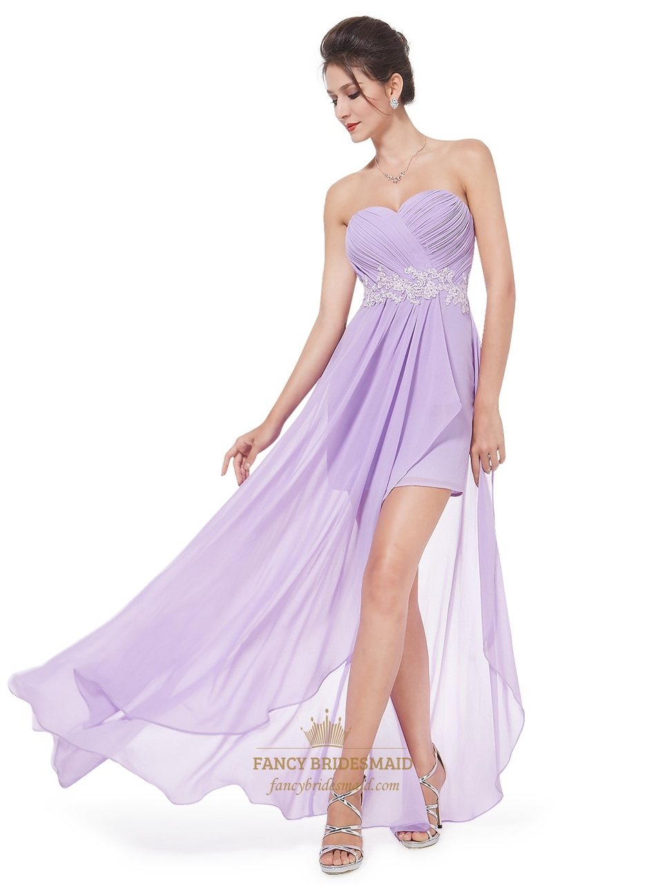 Lilac Chiffon Sweetheart High Low Bridesmaid Dress With Lique Detail