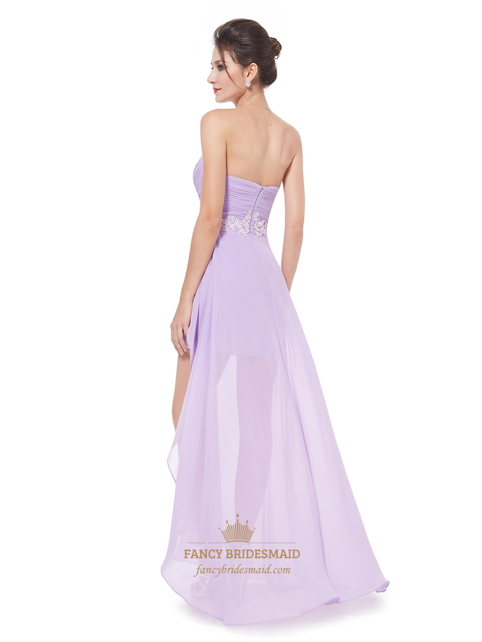 Lilac Chiffon Sweetheart High Low Bridesmaid Dress With ...