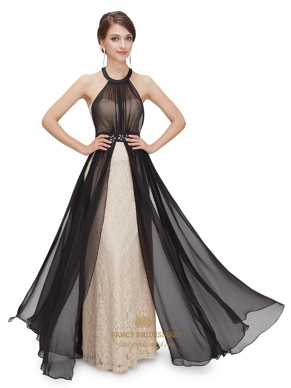 Black and champagne halter bridesmaid dresses with beaded waist black and champagne halter bridesmaid dresses with beaded waist ombrellifo Images