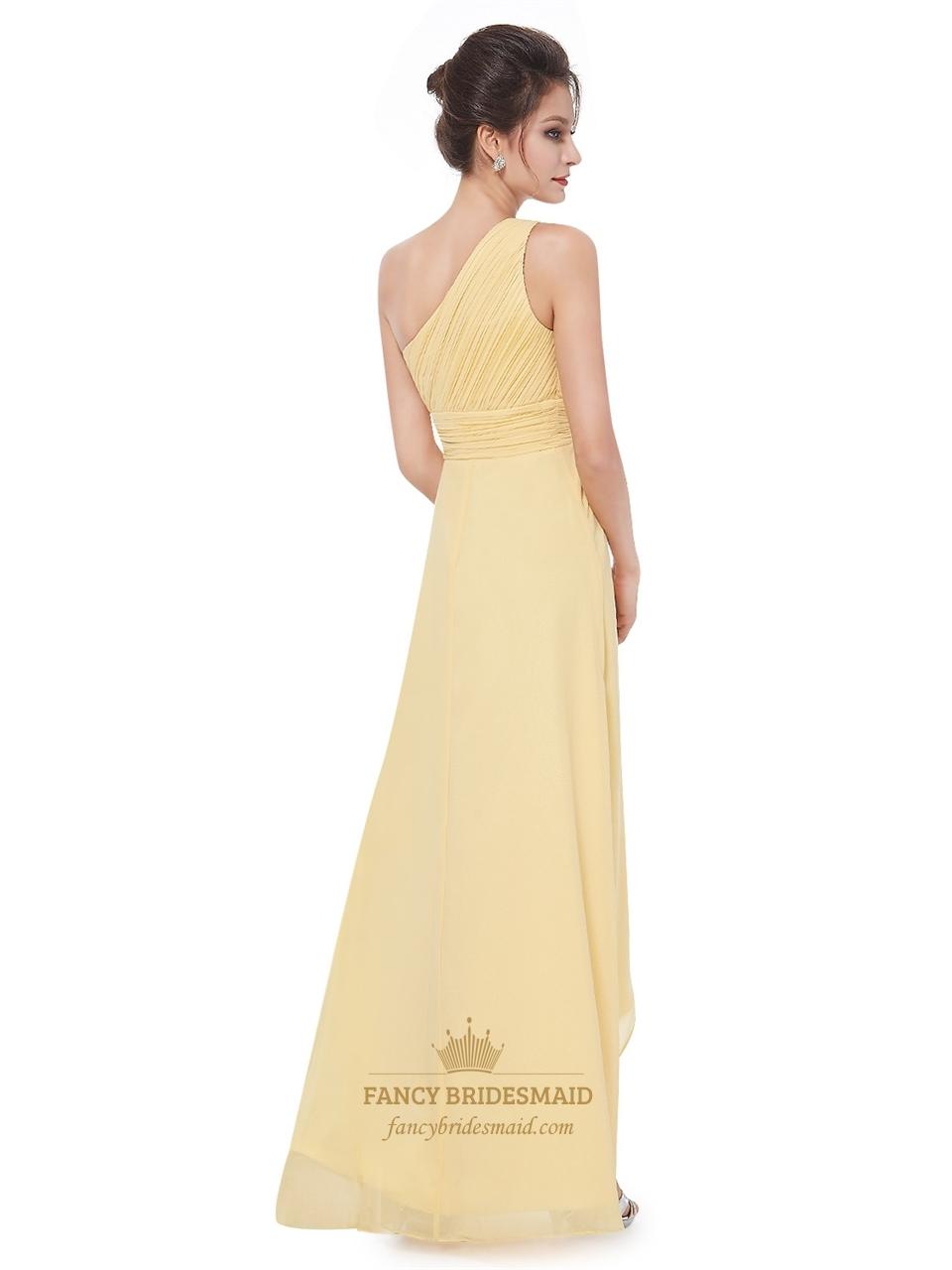 yellow one shoulder chiffon high low bridesmaid dresses