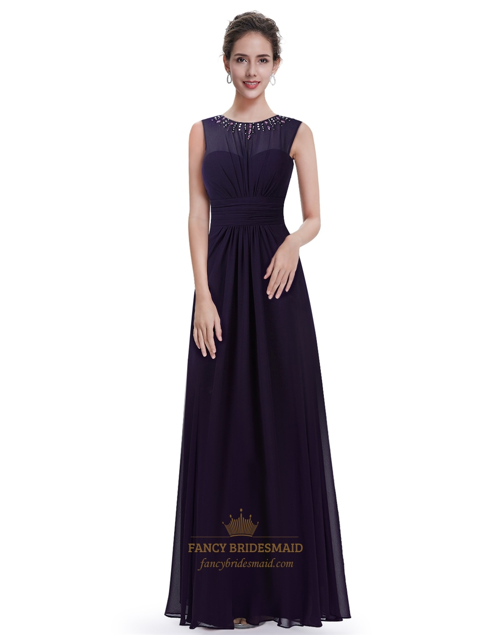 Dark Purple Chiffon Bridesmaid Dress With Beaded Illusion Neckline