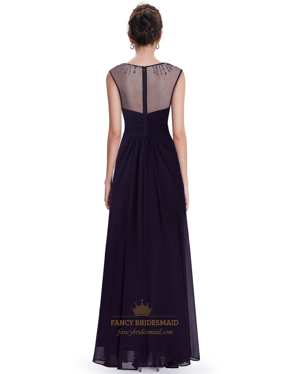 Dark purple chiffon bridesmaid dress with beaded illusion for Dark purple dress for wedding