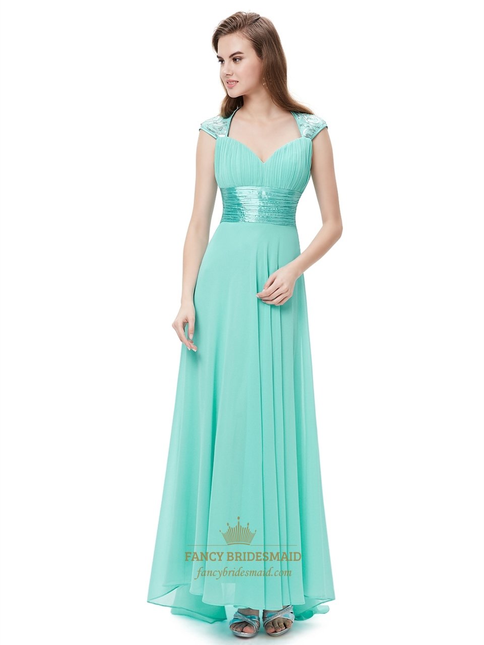 Mint Green Chiffon Sweetheart Bridesmaid Dresses With Cap Sleeves ...