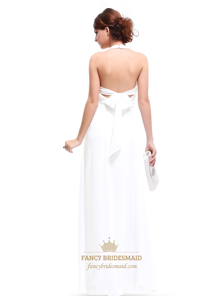 White halter top chiffon empire waist bridesmaid dresses for Halter empire waist wedding dresses