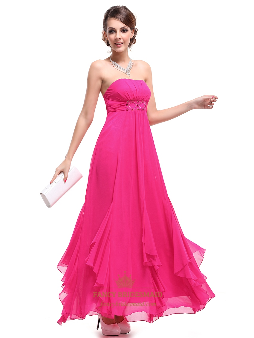 Hot Pink Strapless Empire Waist Bridesmaid Dresses With Ruffle Skirt ...