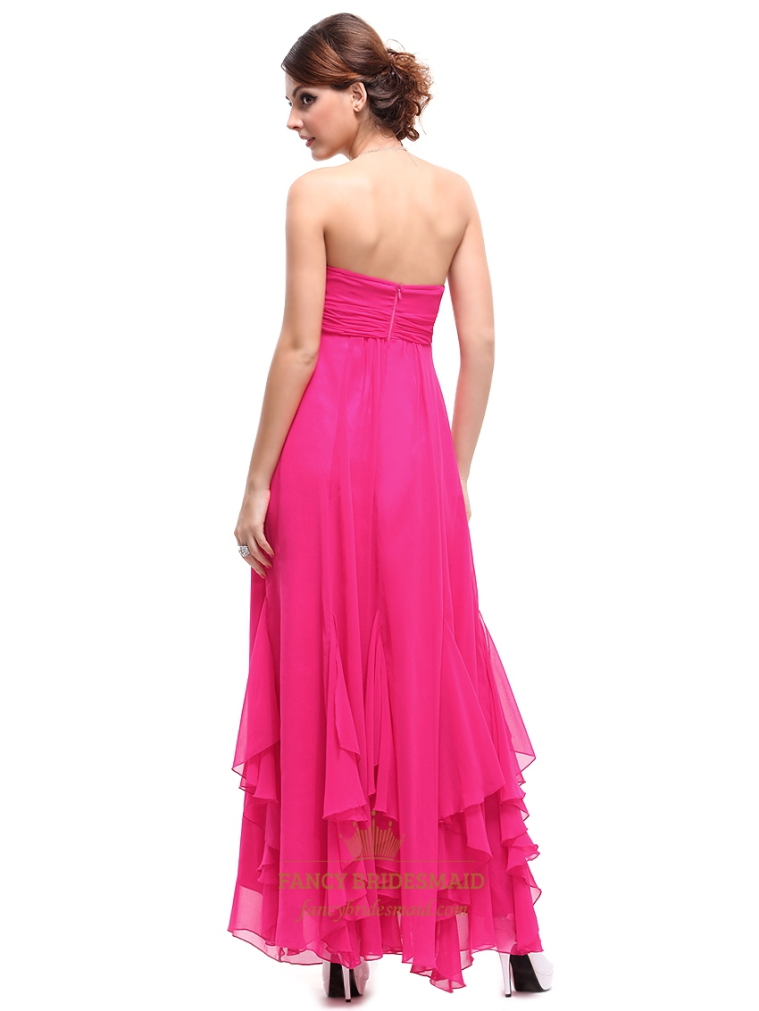 Hot pink strapless empire waist bridesmaid dresses with for Pink ruffle wedding dress
