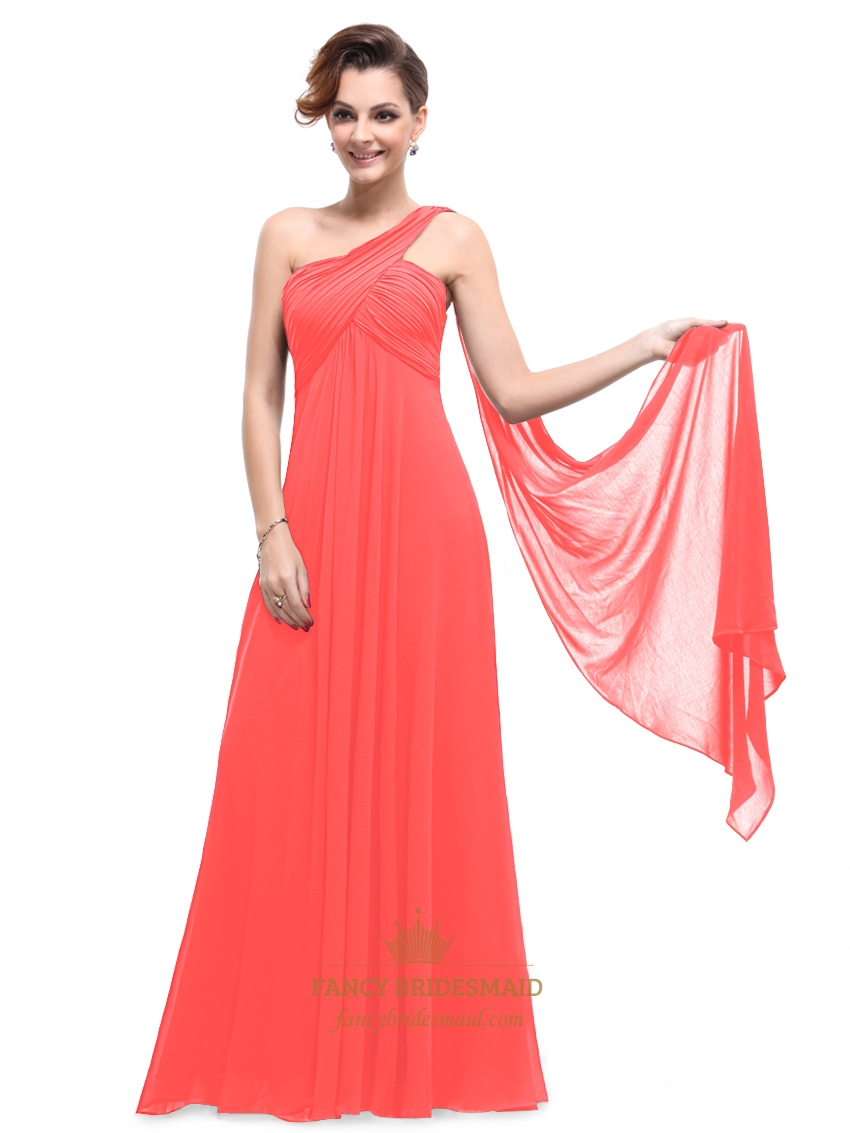779524c1dc05 Orange Chiffon One Shoulder Empire Bridesmaid Dresses With Watteau Train