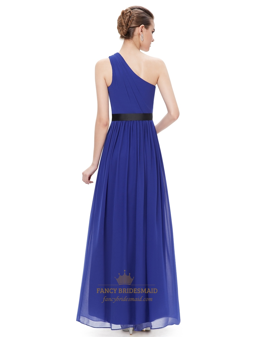 royal blue one shoulder chiffon bridesmaid dresses with