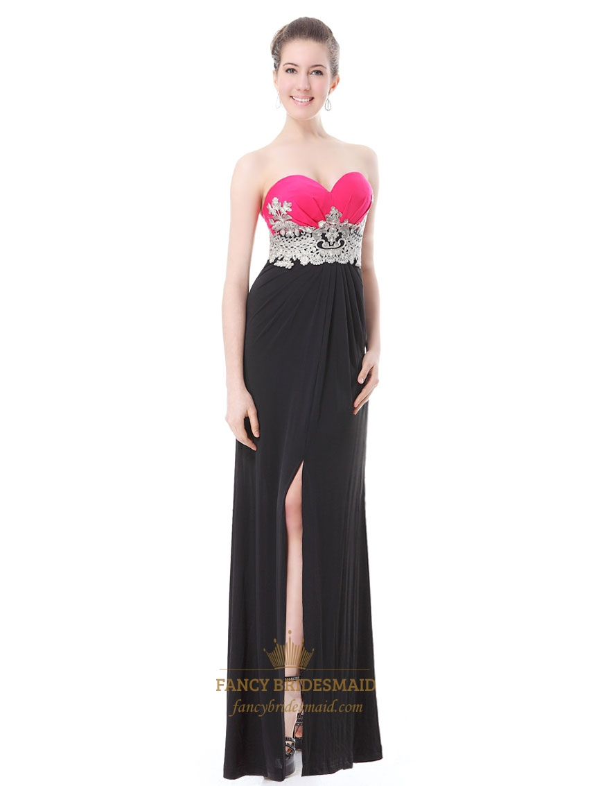Black And Hot Pink Sweetheart Sheath Prom Dresses With Embellished ...