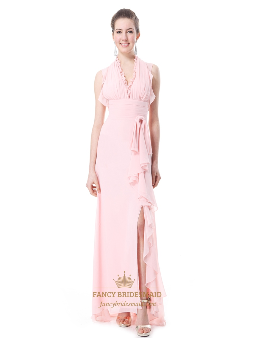 Pink chiffon halter neck side split bridesmaid dresses for Pink ruffle wedding dress