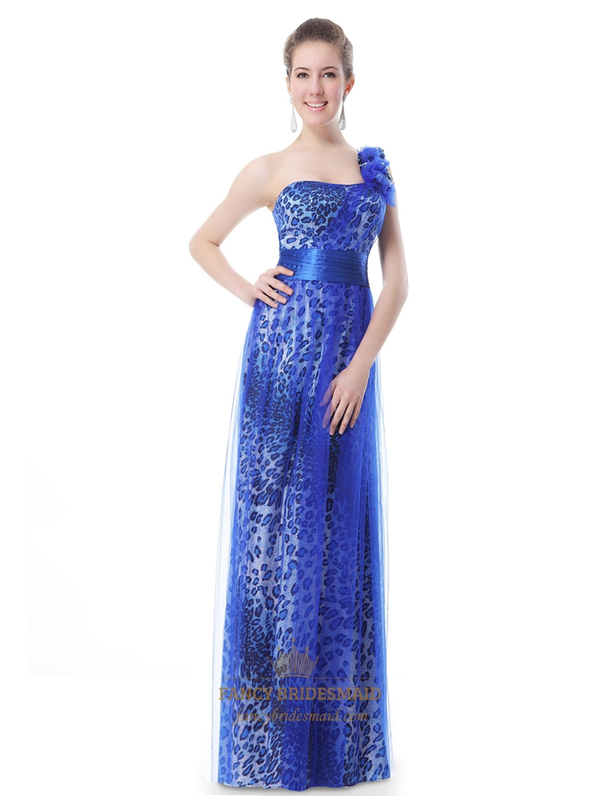 Royal Blue One Shoulder Leopard Print Prom Dress With Flower Strap ...