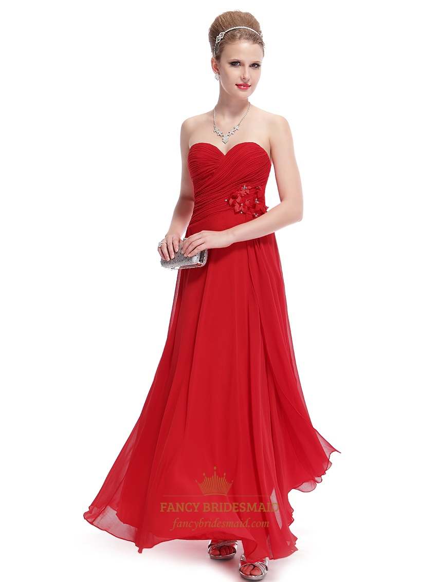 Red chiffon sweetheart strapless bridesmaid dresses with for Wedding dress with red flowers