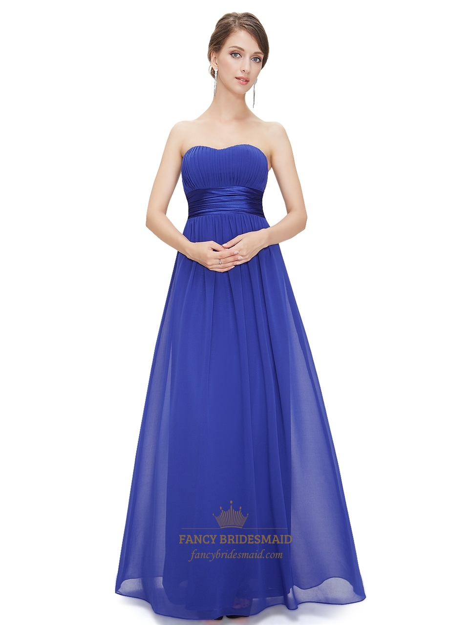 Royal blue chiffon strapless long bridesmaid dress for for Blue long dress wedding