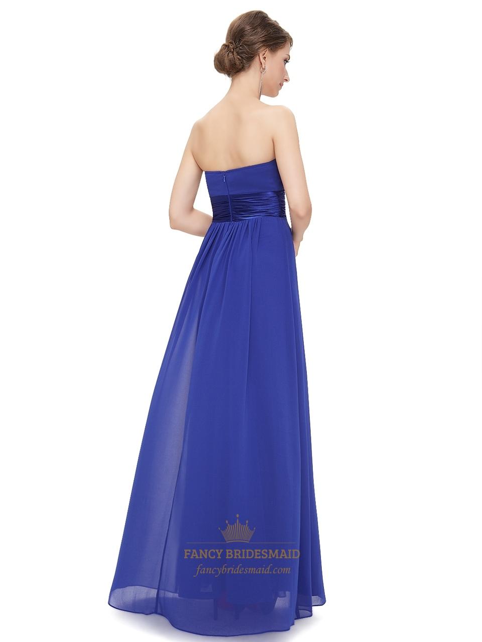 Royal Blue Chiffon Strapless Long Bridesmaid Dress For