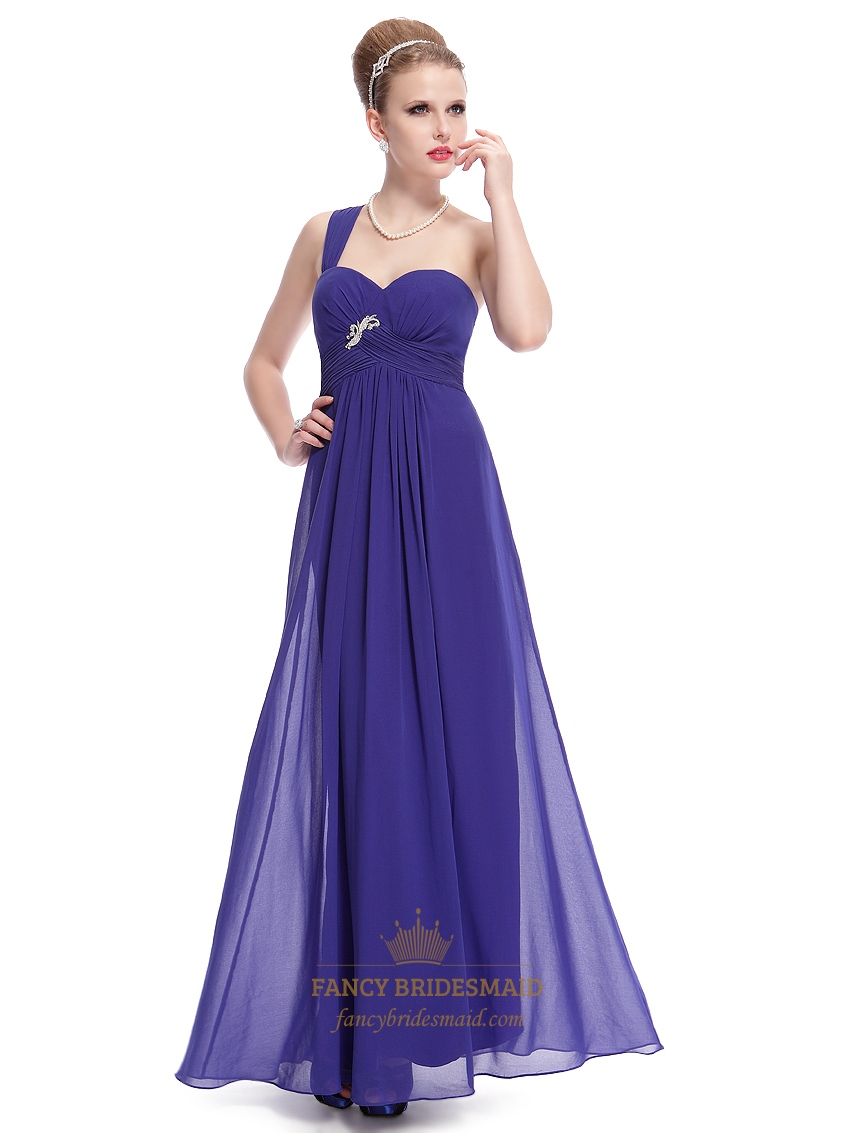 Royal blue one shoulder chiffon bridesmaid dress with for Wedding dress with blue detail