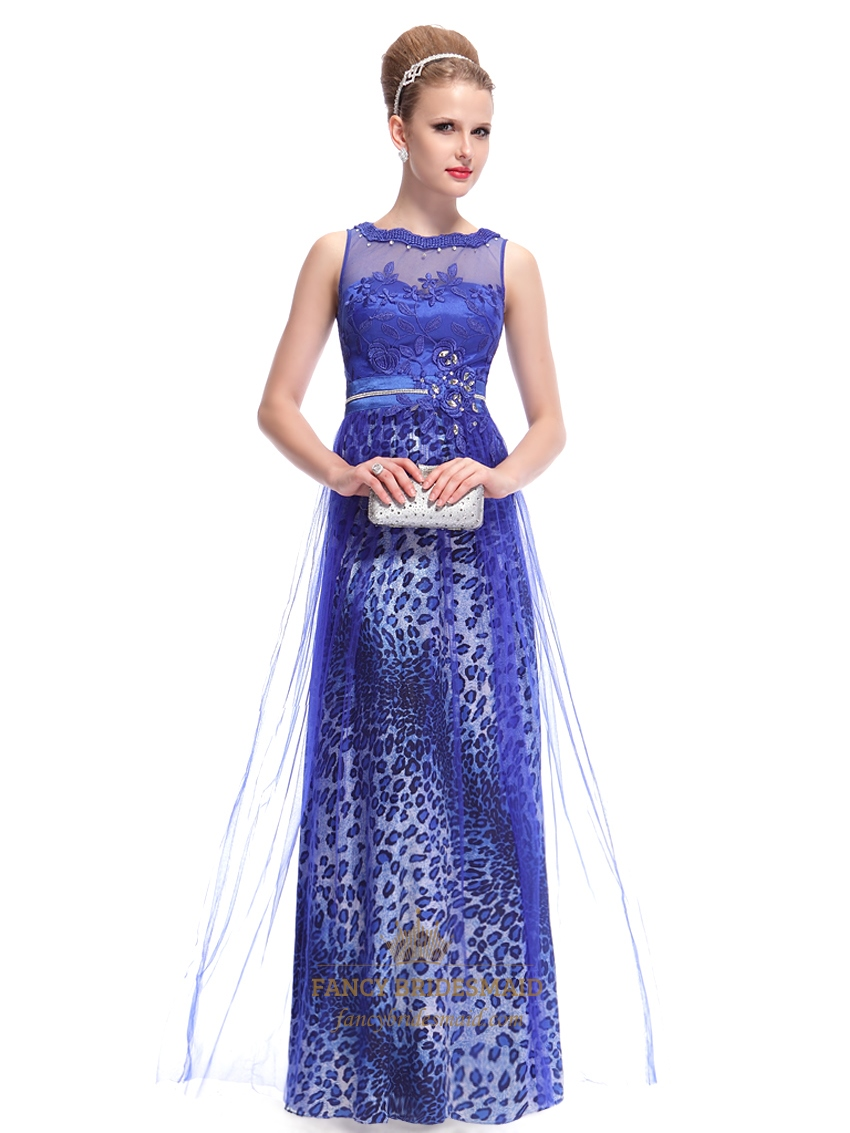 Royal blue leopard print tulle floor length prom dress with lace royal blue leopard print tulle floor length prom dress with lace bodice ombrellifo Gallery