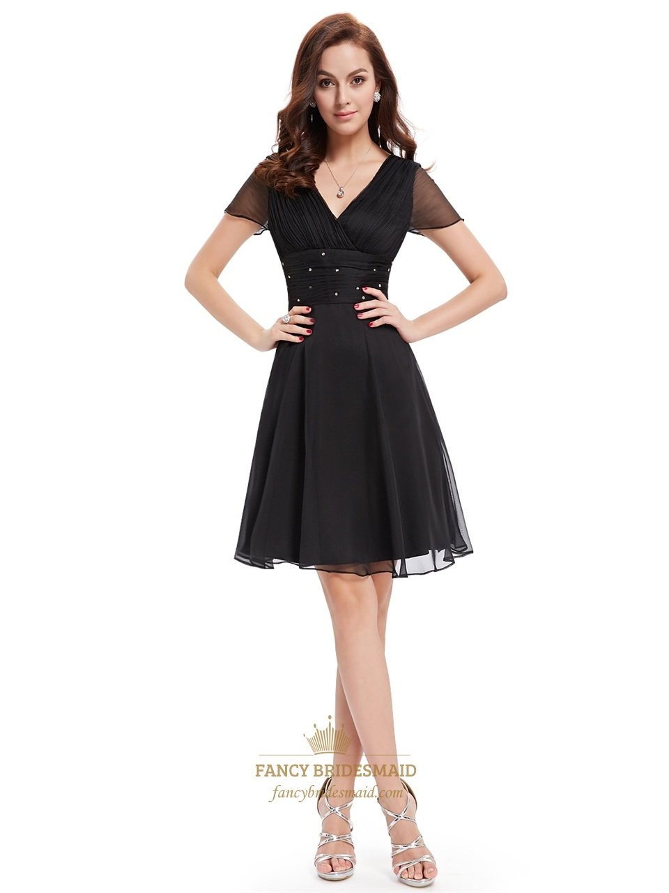 Black chiffon v neck knee length bridesmaid dress with for Cocktail 1789