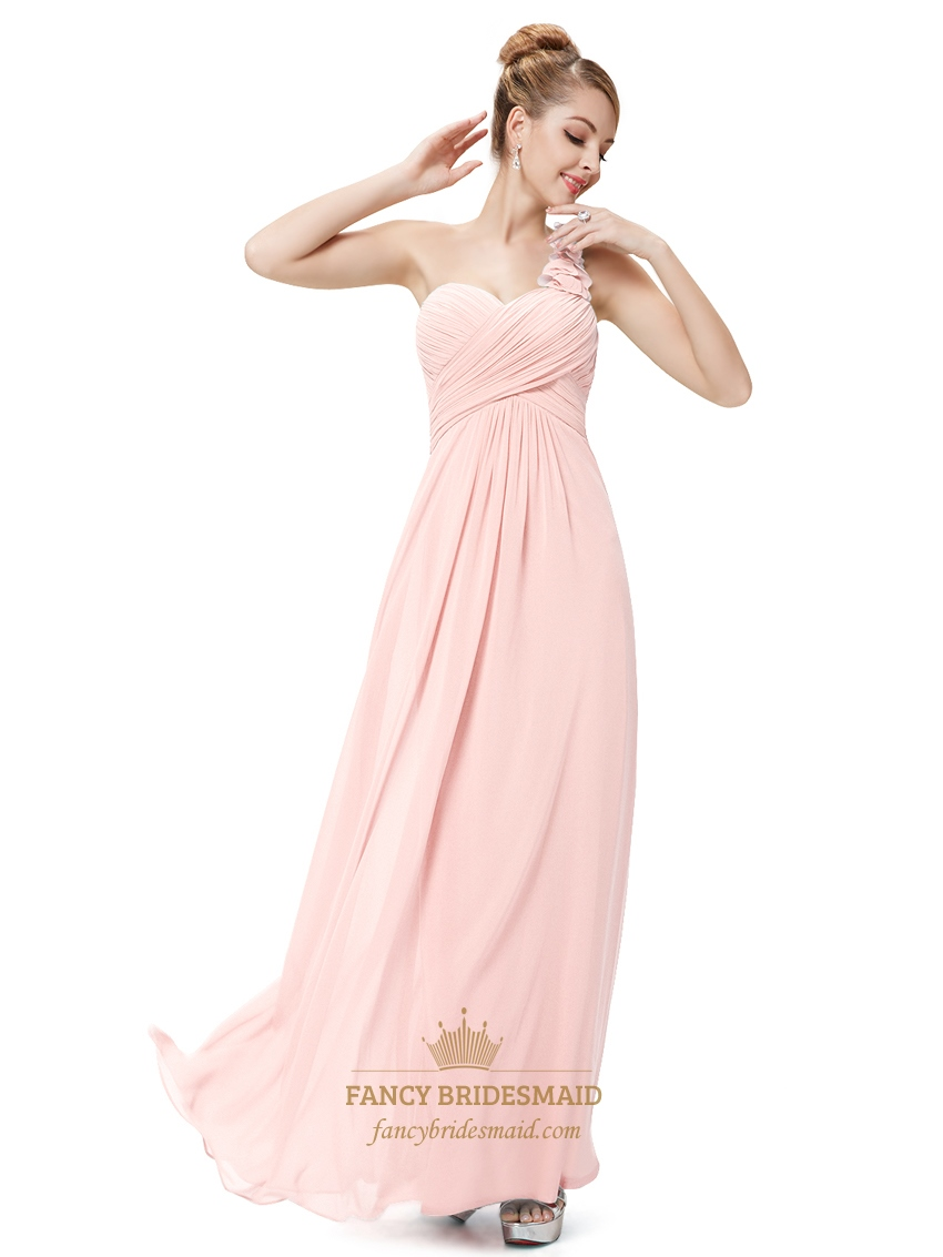 Light pink one shoulder flower strap chiffon bridesmaid dresses light pink one shoulder flower strap chiffon bridesmaid dresses ombrellifo Gallery