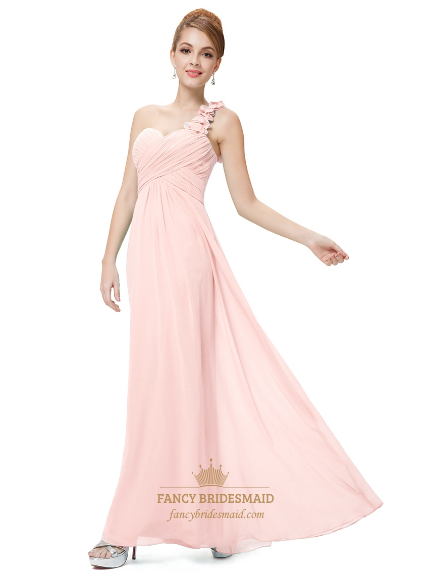 Light pink one shoulder flower strap chiffon bridesmaid dresses light pink one shoulder flower strap chiffon bridesmaid dresses ombrellifo Images