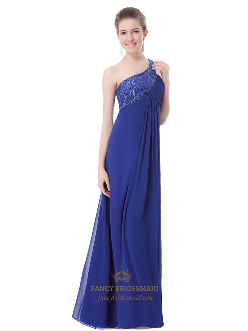 royal blue chiffon one shoulder bridesmaid dresses with
