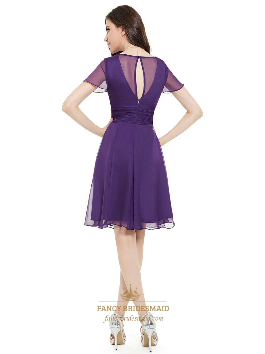 Purple Chiffon V Neck Knee Length Bridesmaid Dress With