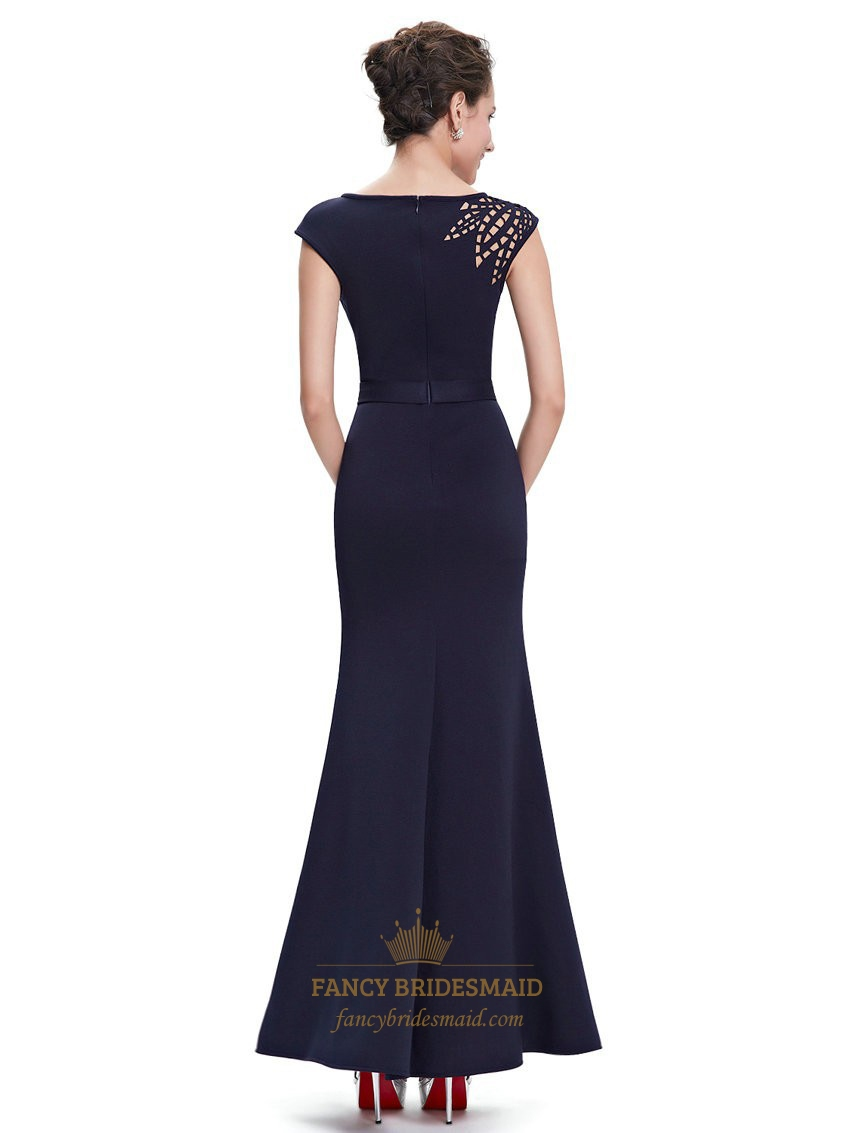 Navy Blue Mermaid Hollow Out Floor Length Prom Dresses