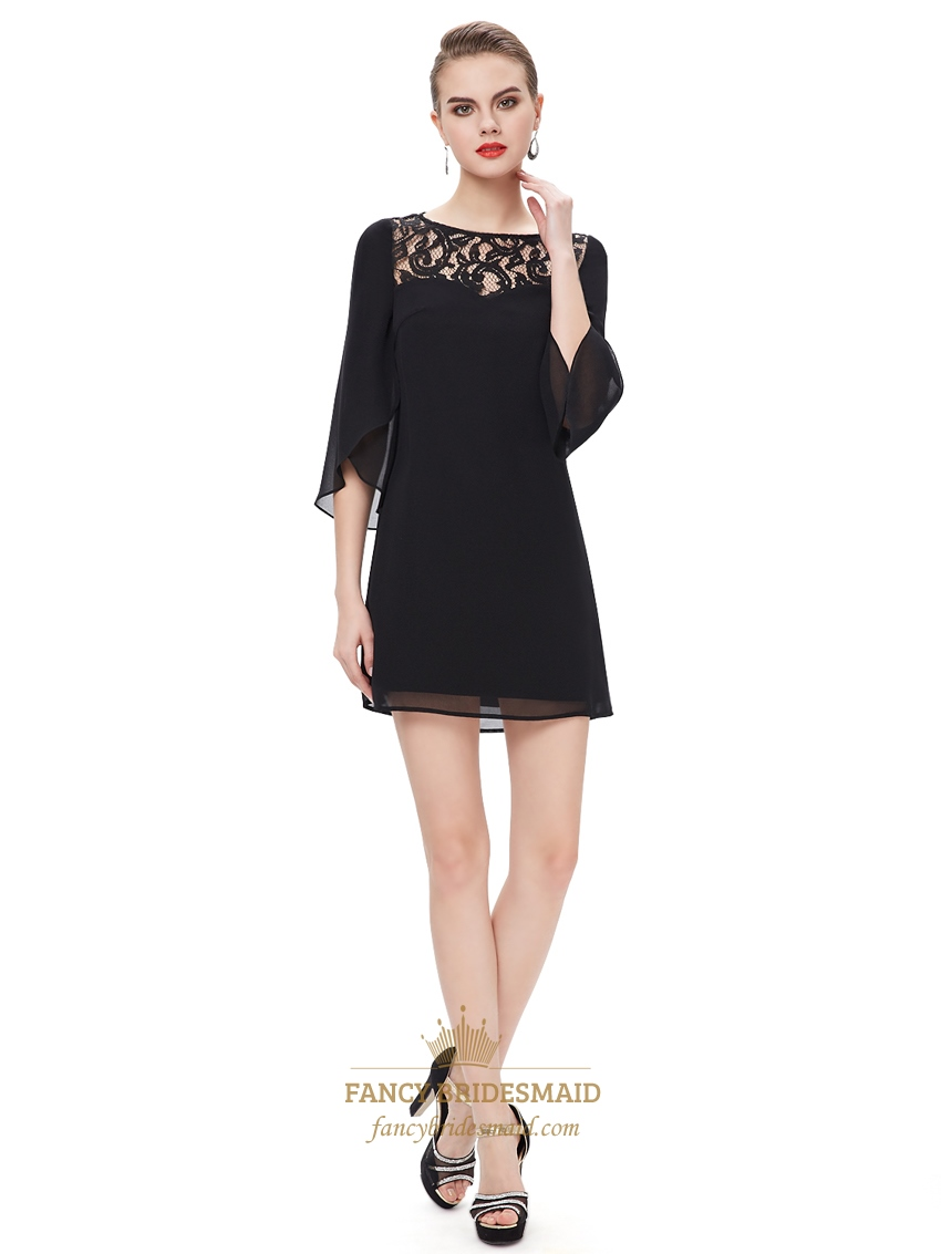 Black Lace Illusion Neckline Mini Cocktail Dress With