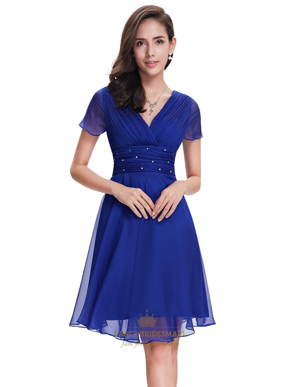 Royal Blue Chiffon V Neck Knee Length Bridesmaid Dress