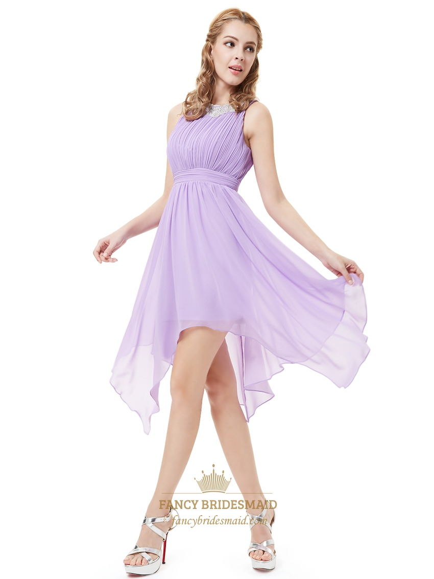 Lilac Chiffon Sleeveless Bridesmaid Dresses With Jewelled