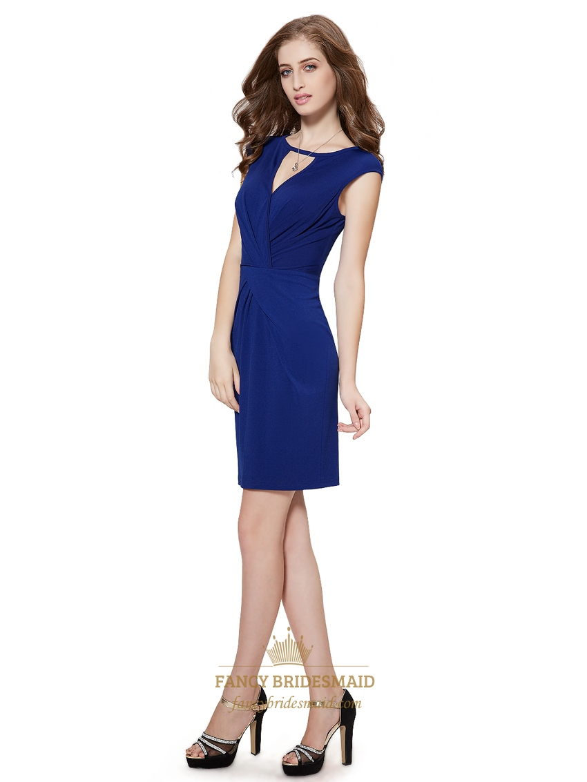 Royal Blue Column Cap Sleeves Cocktail Dress With Keyhole Neckline | Fancy Bridesmaid Dresses