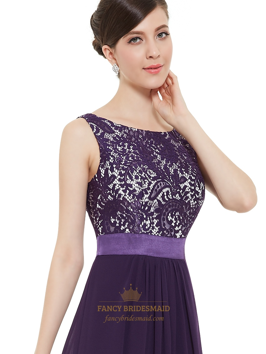 8c5a1bee8cb Purple Chiffon Lace Bodice Chiffon Skirt Floor Length Bridesmaid Dresses