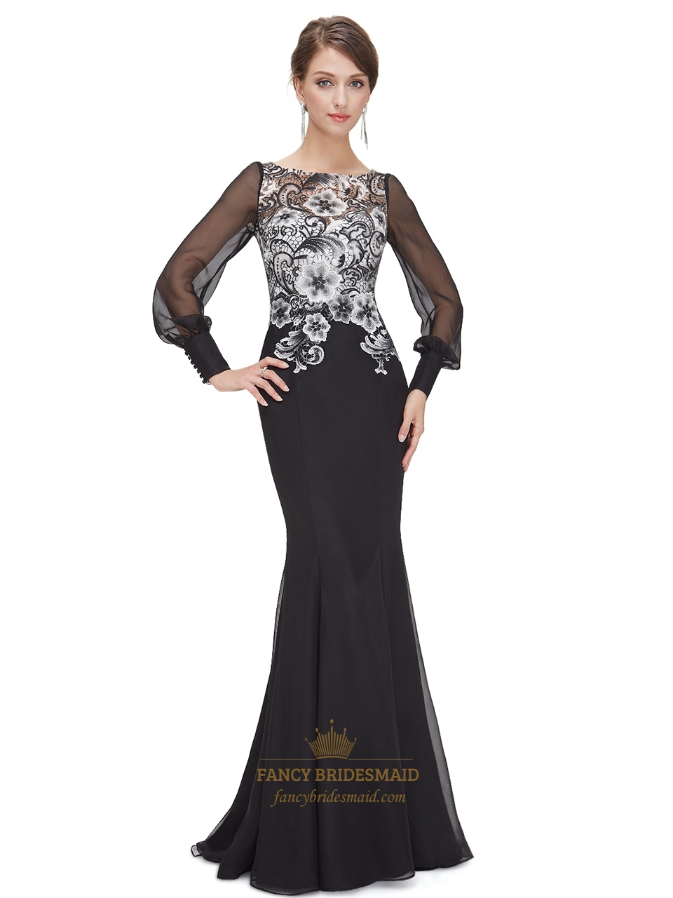 9fee7bfc8789 Black And White Lace Bodice Chiffon Prom Dress With Long Sleeves ...