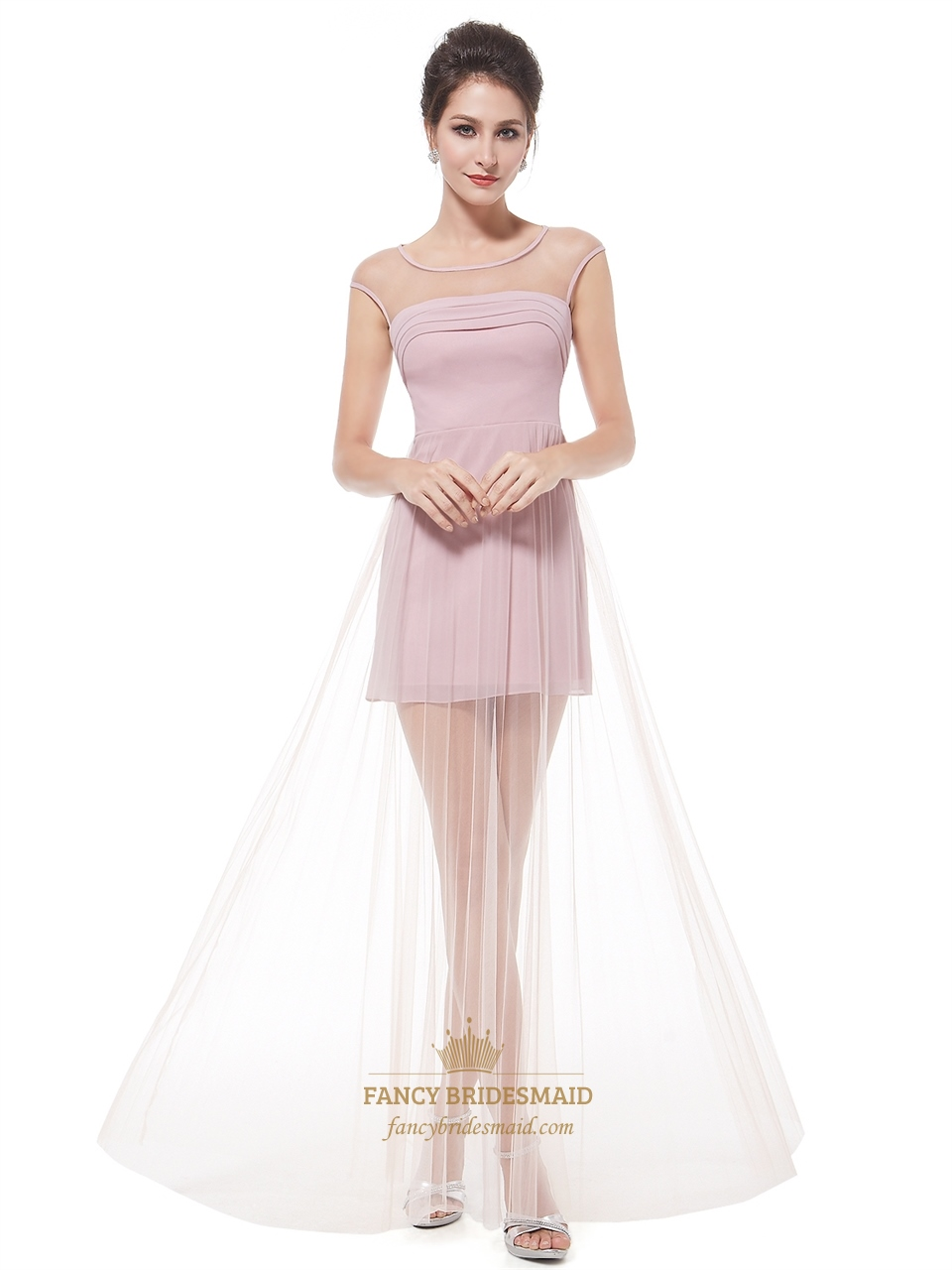 Pink Tulle Cap Sleeves Short Prom Dress With Long Sheer Overlay