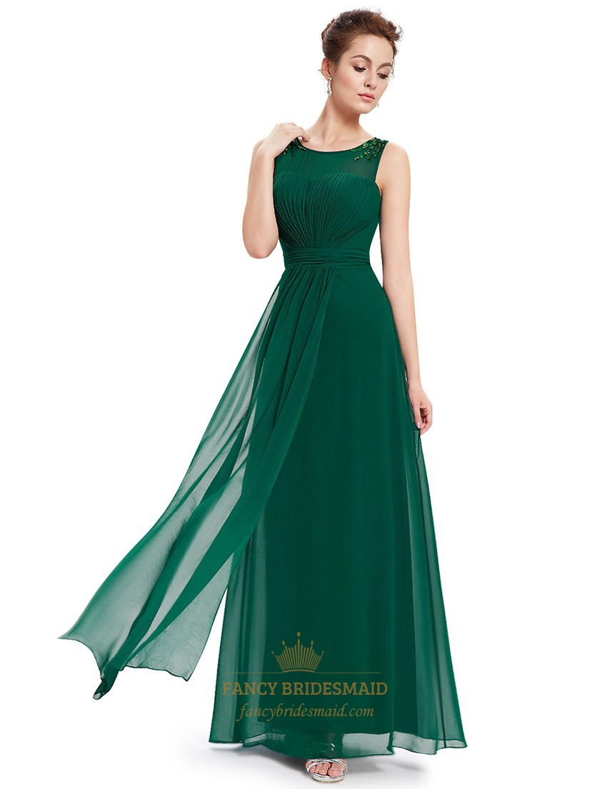 Emerald green chiffon floor length bridesmaid dresses with for Floor length dresses