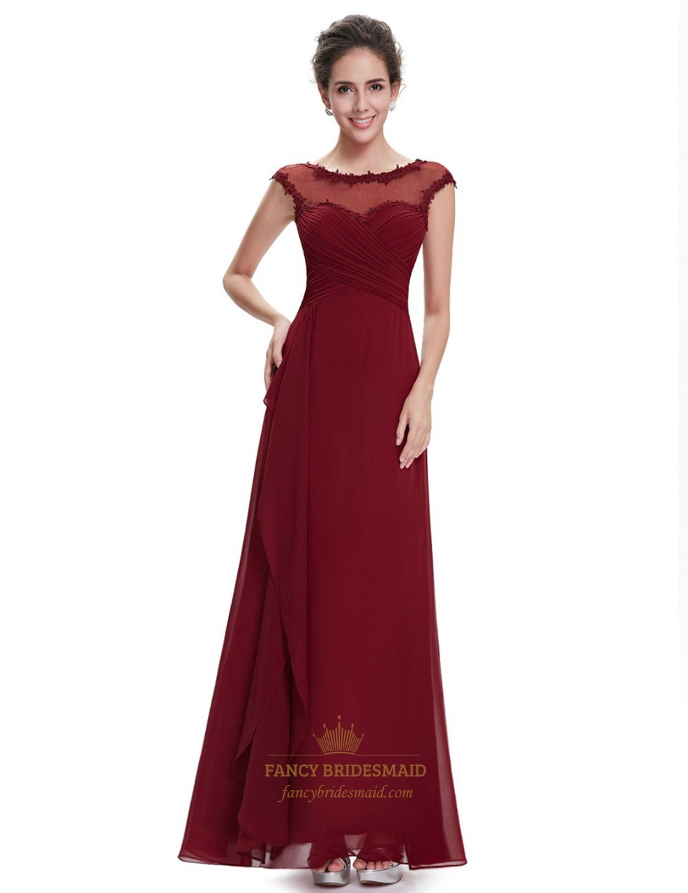 Burgundy Chiffon Cap Sleeves Bridesmaid Dresses With Lace Applique ...