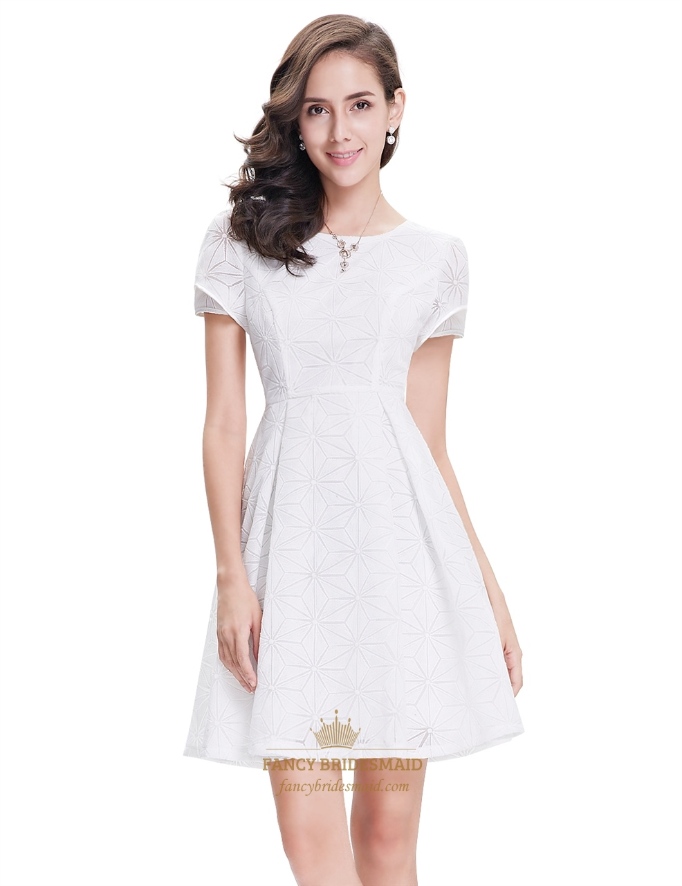 Elegant White Short Semi Formal Dresses With Short Sleeves | Fancy ...