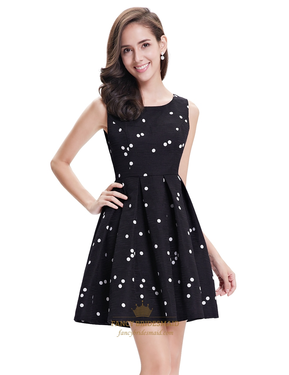 f1b4ac27b2ba Black And White Polka Dot Sleeveless Short Dress For Cocktail Party ...
