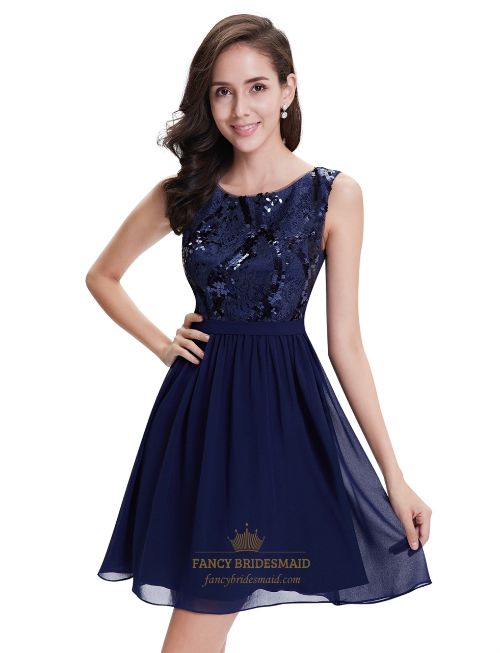 Navy Blue Chiffon Sleeveless Short Cocktail Dress With Sequin Top ...