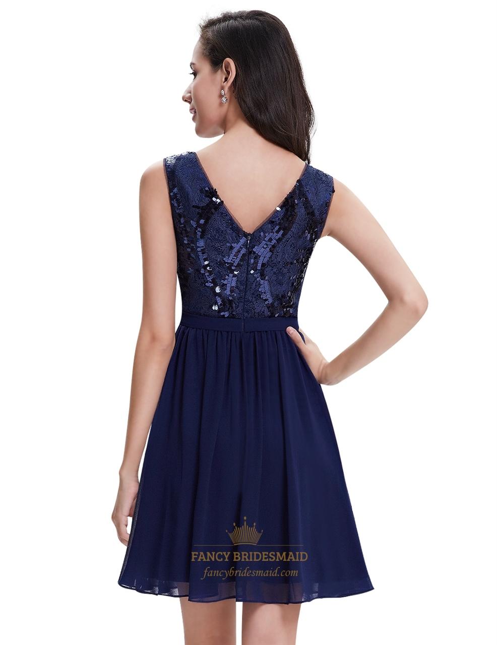 Navy Blue Sleeveless Cocktail Dress
