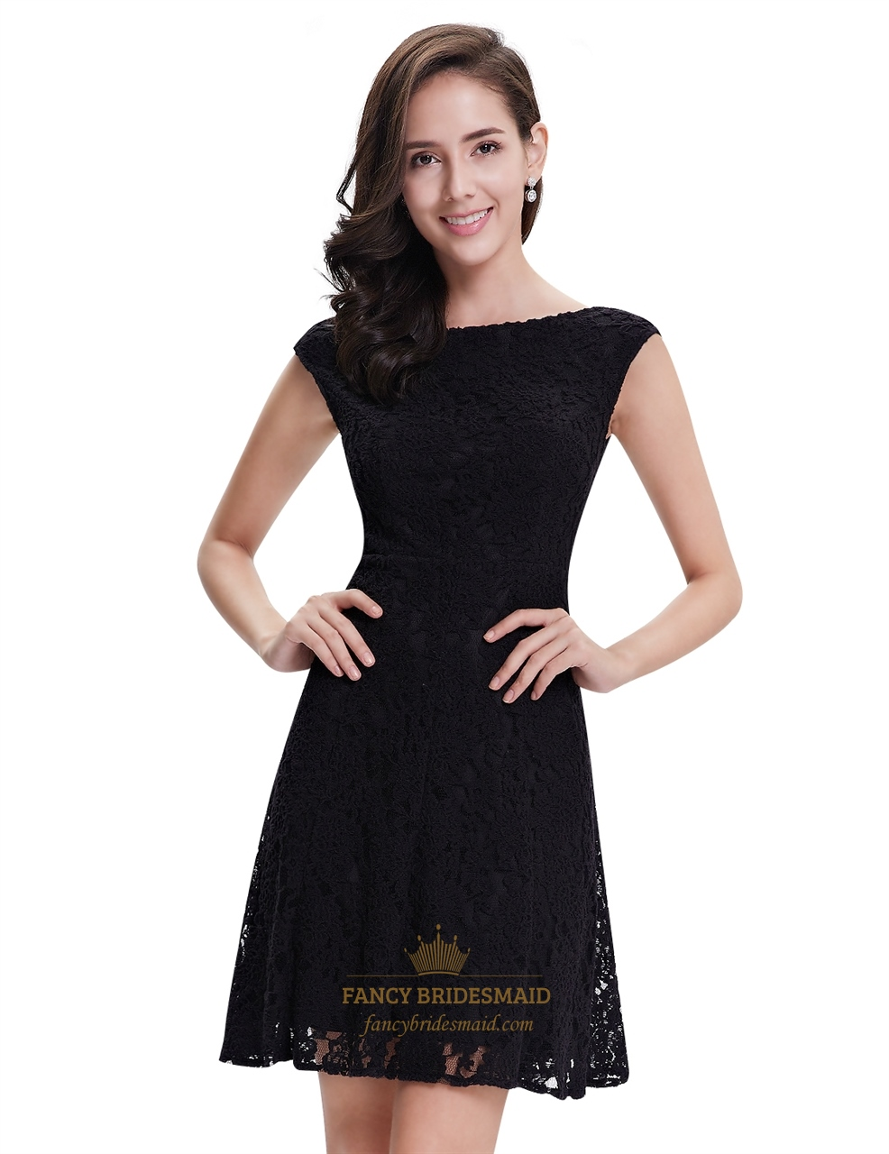 Elegant Black Lace Short Semi Formal Dresses With Cap Sleeves ...