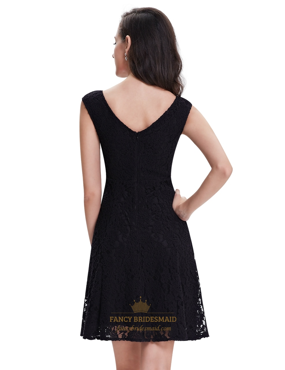 002e4ba2809 Elegant Black Lace Short Semi Formal Dresses With Cap Sleeves ...