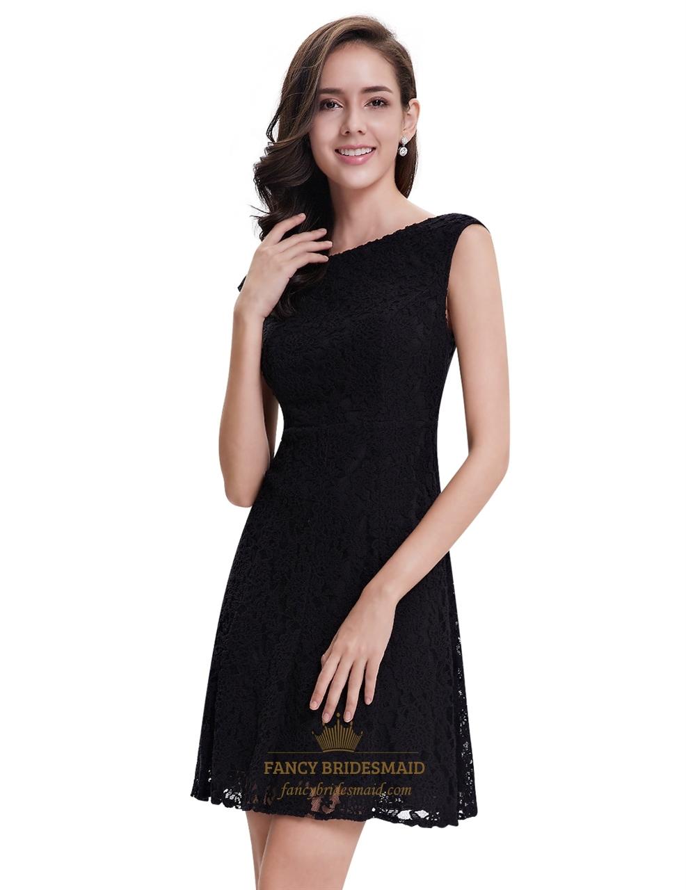 elegant black lace short semi formal dresses with cap