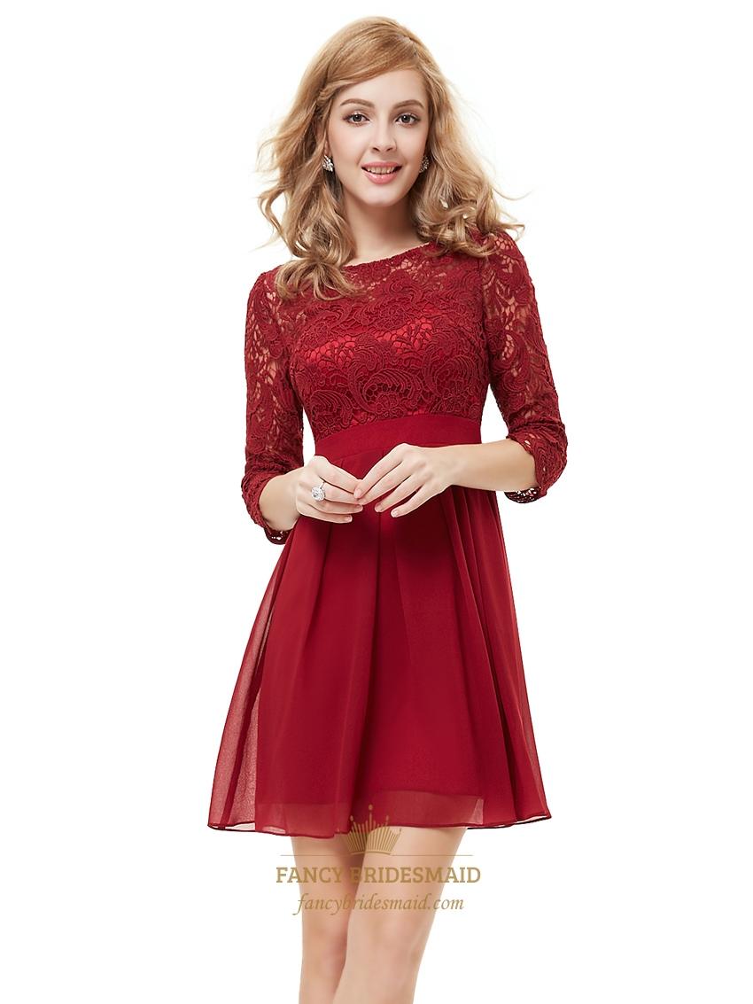 Burgundy chiffon short a line bridesmaid dresses with half sleeves burgundy chiffon short a line bridesmaid dresses with half sleeves ombrellifo Choice Image