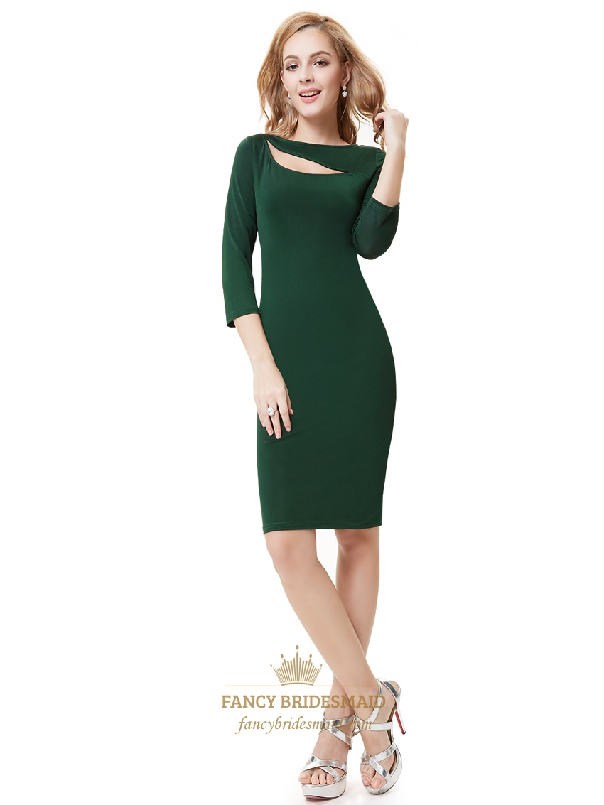 emerald green knee length sheath cocktail dress with 34