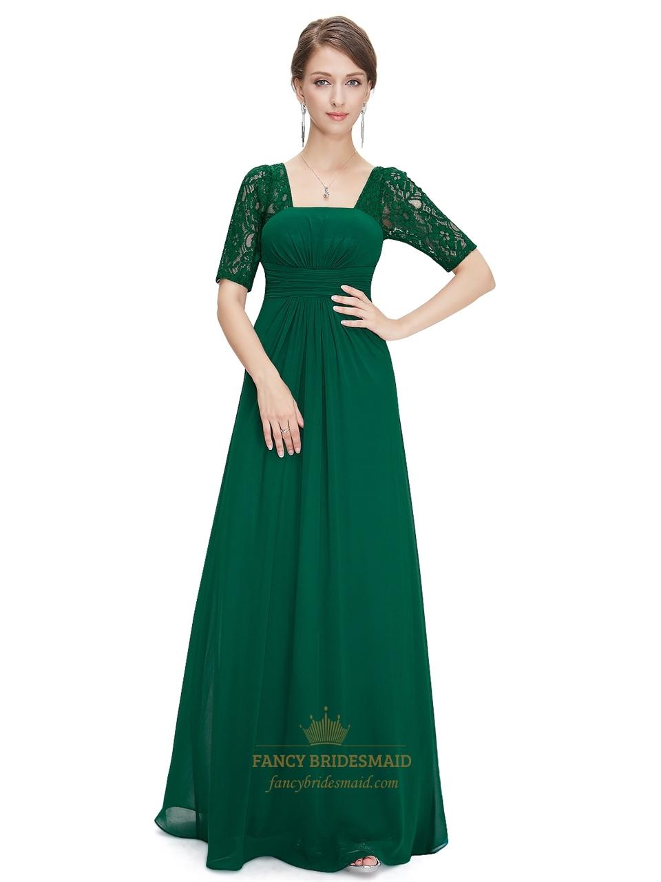 Emerald Green Empire Waist Chiffon Bridesmaid Dresses With ...