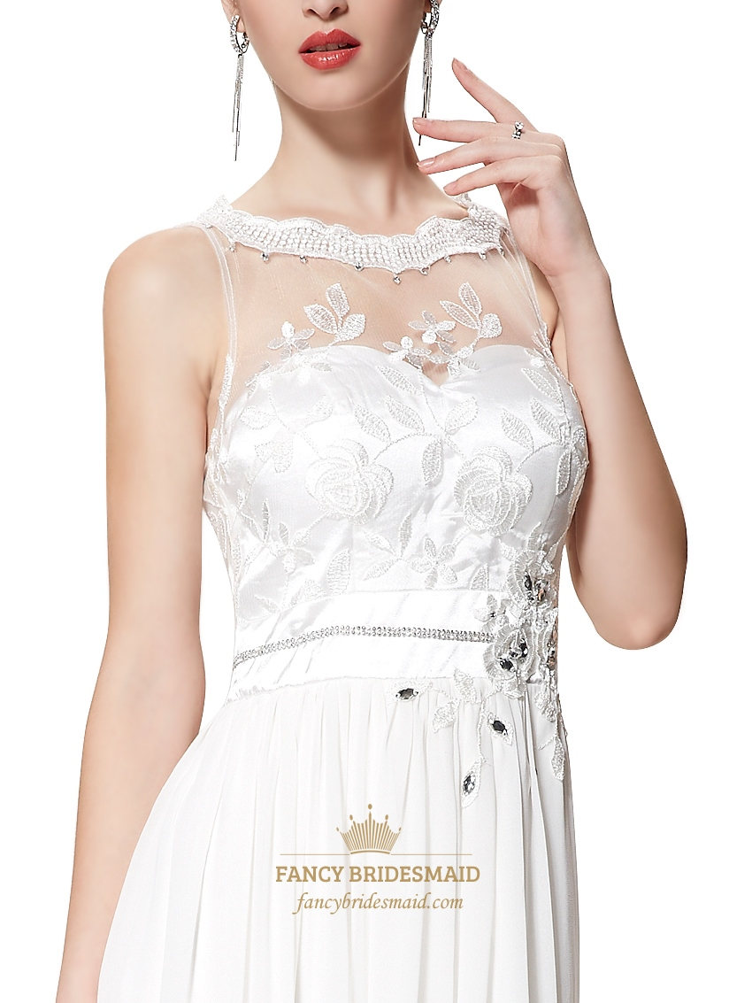 ivory chiffon illusion neckline bridesmaid dresses with