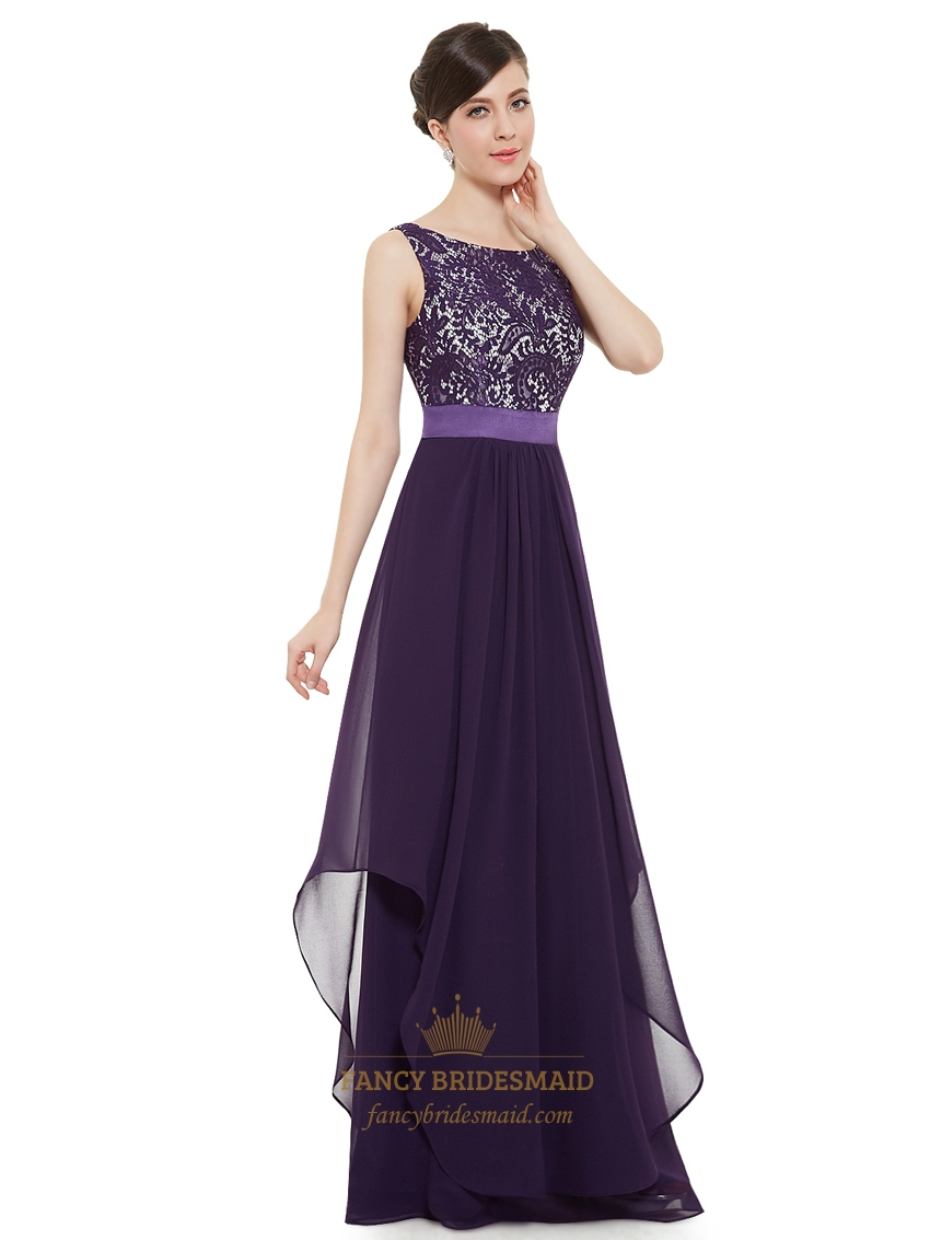 Purple chiffon lace bodice chiffon skirt floor length for Purple wedding dresses for bridesmaids