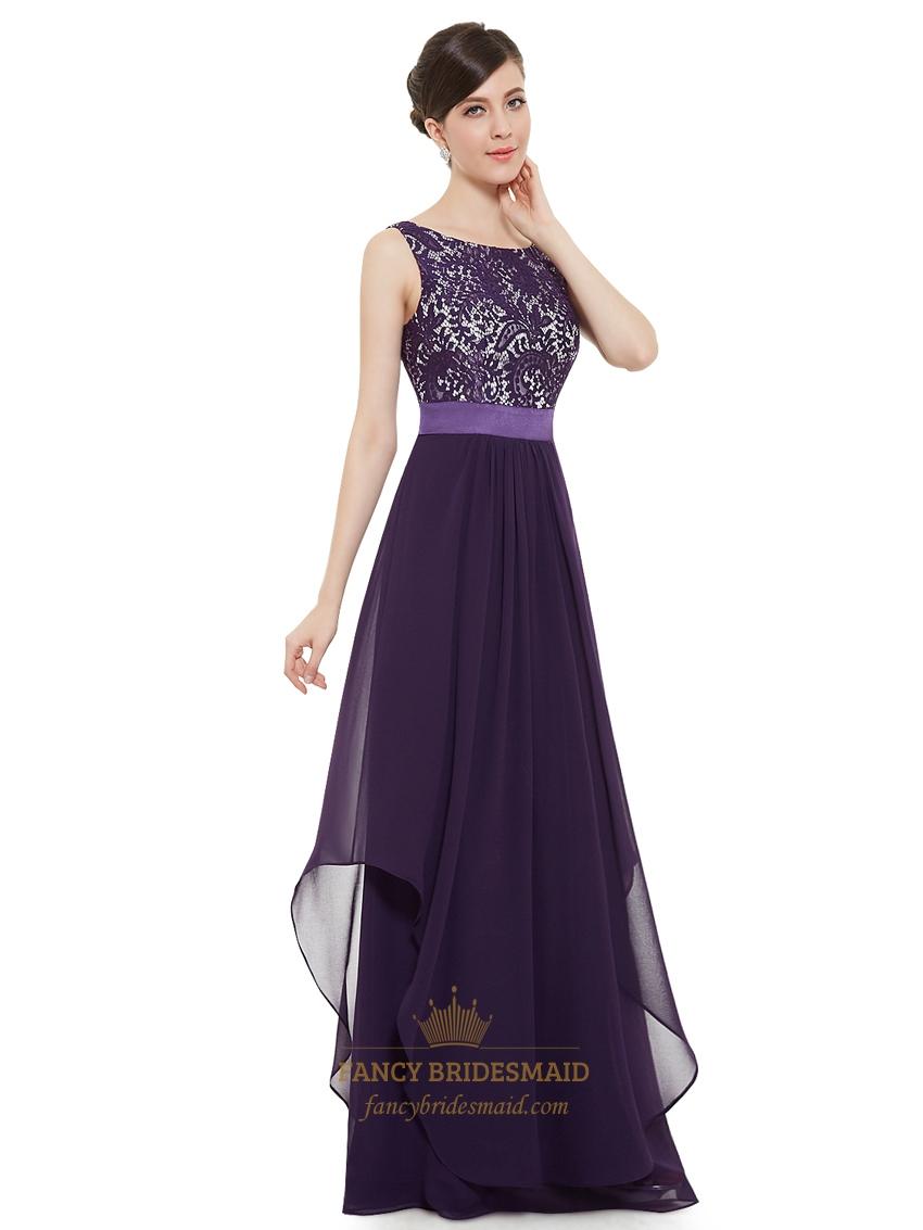 Purple Chiffon Lace Bodice Chiffon Skirt Floor Length