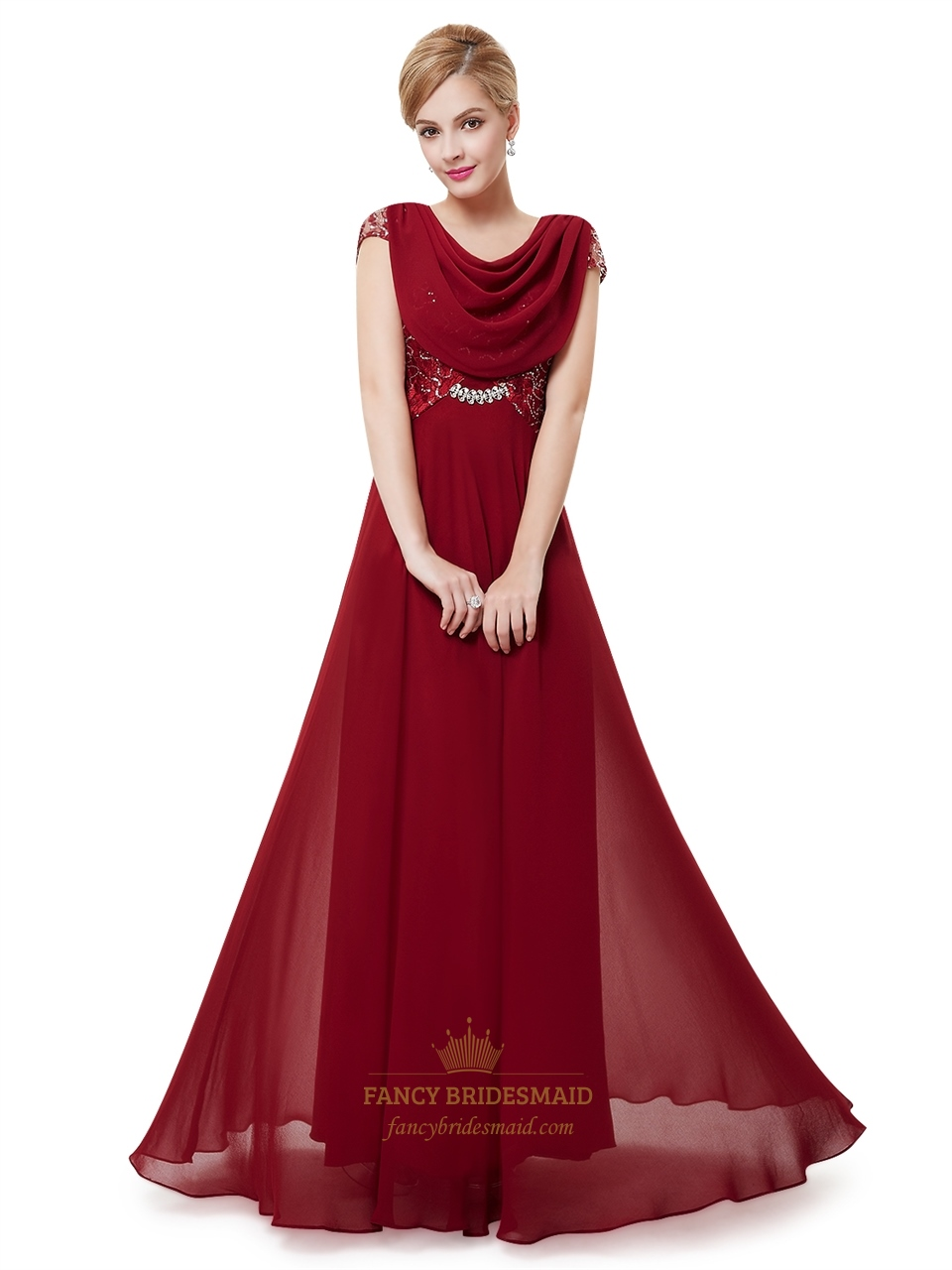 Burgundy Chiffon Cowl Back Lace Bodice Prom Dresses With