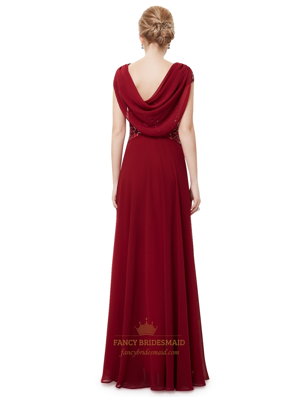 Burgundy Chiffon Cowl Back Lace Bodice Prom Dresses With Cap Sleeves | Fancy Bridesmaid Dresses